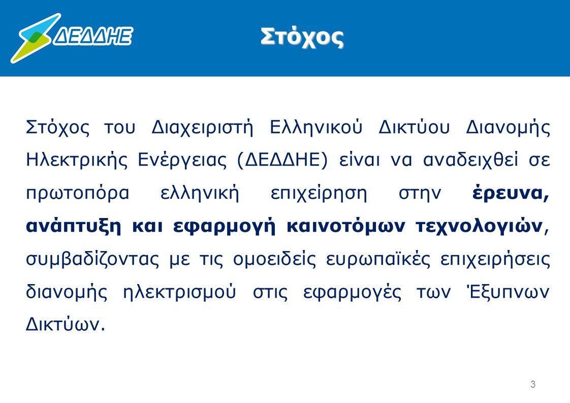 Στόχος του Διαχειριστή Ελληνικού Δικτύου Διανομής Ηλεκτρικής Ενέργειας (ΔΕΔΔΗΕ) είναι να αναδειχθεί σε πρωτοπόρα ελληνική επιχείρηση στην έρευνα, ανάπ