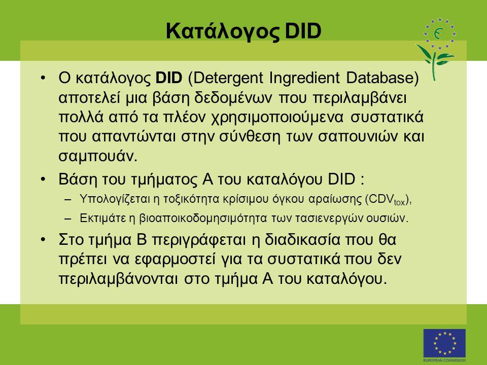 Κατάλογος DID •Ο κατάλογος DID (Detergent Ingredient Database) αποτελεί μια βάση δεδομένων που περιλαμβάνει πολλά από τα πλέον χρησιμοποιούμενα συστατικά που απαντώνται στην σύνθεση των σαπουνιών και σαμπουάν.