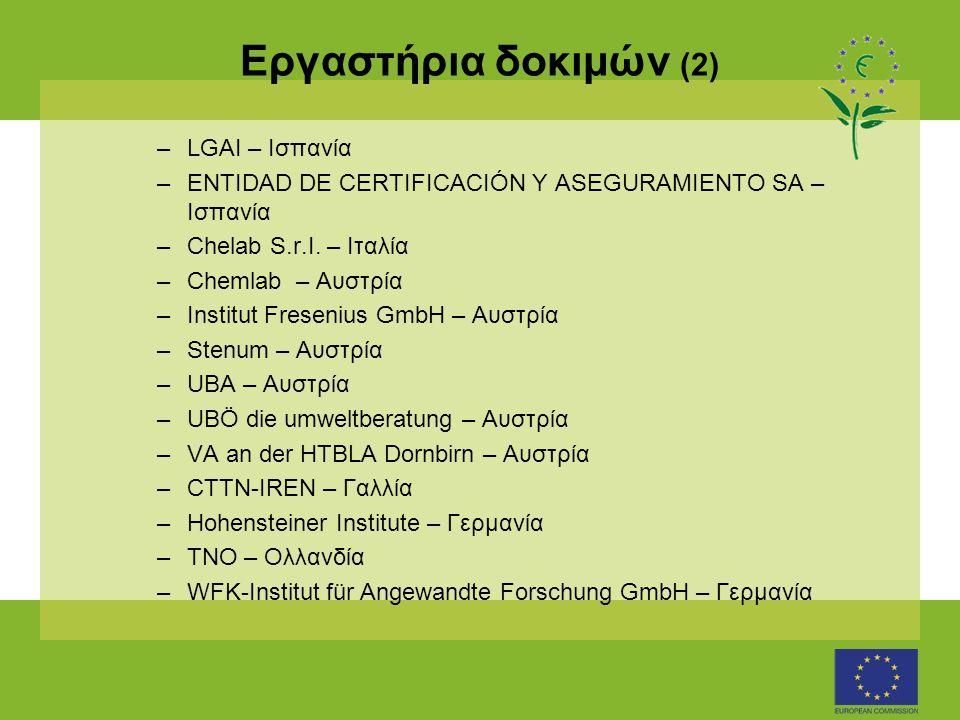 Εργαστήρια δοκιμών (2) –LGAI – Ισπανία –ENTIDAD DE CERTIFICACIÓN Y ASEGURAMIENTO SA – Ισπανία –Chelab S.r.I.
