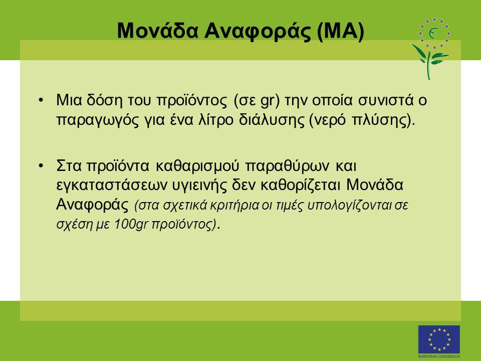 Μονάδα Αναφοράς (ΜΑ) •Μια δόση του προϊόντος (σε gr) την οποία συνιστά ο παραγωγός για ένα λίτρο διάλυσης (νερό πλύσης).