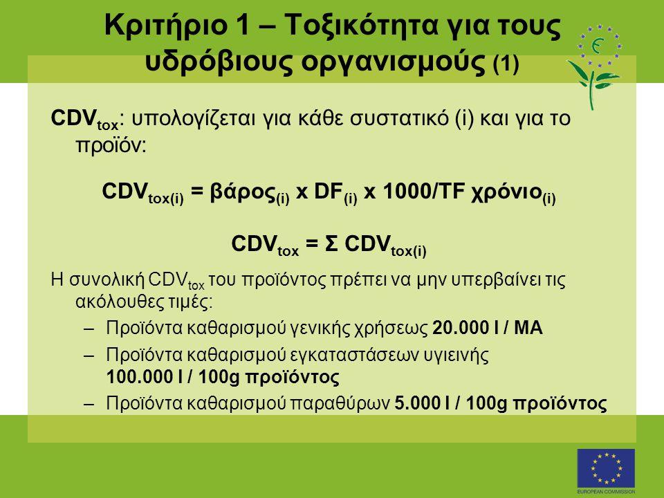 Κριτήριο 1 – Τοξικότητα για τους υδρόβιους οργανισμούς (1) CDV tox : υπολογίζεται για κάθε συστατικό (i) και για το προϊόν: CDV tox(i) = βάρος (i) x DF (i) x 1000/TF χρόνιο (i) CDV tox = Σ CDV tox(i) Η συνολική CDV tox του προϊόντος πρέπει να μην υπερβαίνει τις ακόλουθες τιμές: –Προϊόντα καθαρισμού γενικής χρήσεως 20.000 l / ΜΑ –Προϊόντα καθαρισμού εγκαταστάσεων υγιεινής 100.000 l / 100g προϊόντος –Προϊόντα καθαρισμού παραθύρων 5.000 l / 100g προϊόντος
