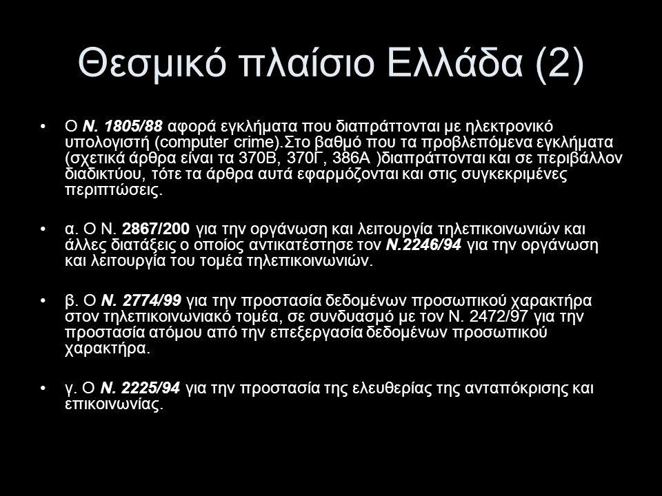 Θεσμικό πλαίσιο Ελλάδα (3) •Επίσης τέθηκε σε ισχύ το Π.Δ.