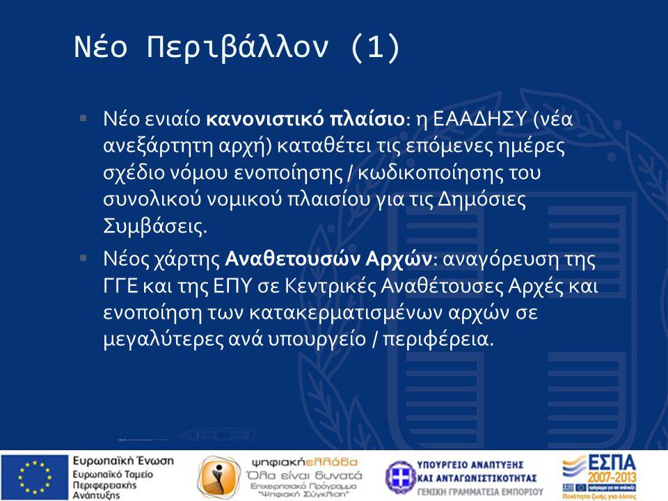 Νέο Περιβάλλον (2)  Πλήρες Κεντρικό Ηλεκτρονικό Μητρώο Δημοσίων Συμβάσεων (αποθετήριο διοικητικών αποφάσεων που σχετίζονται με τις Δημόσιες Συμβάσεις).
