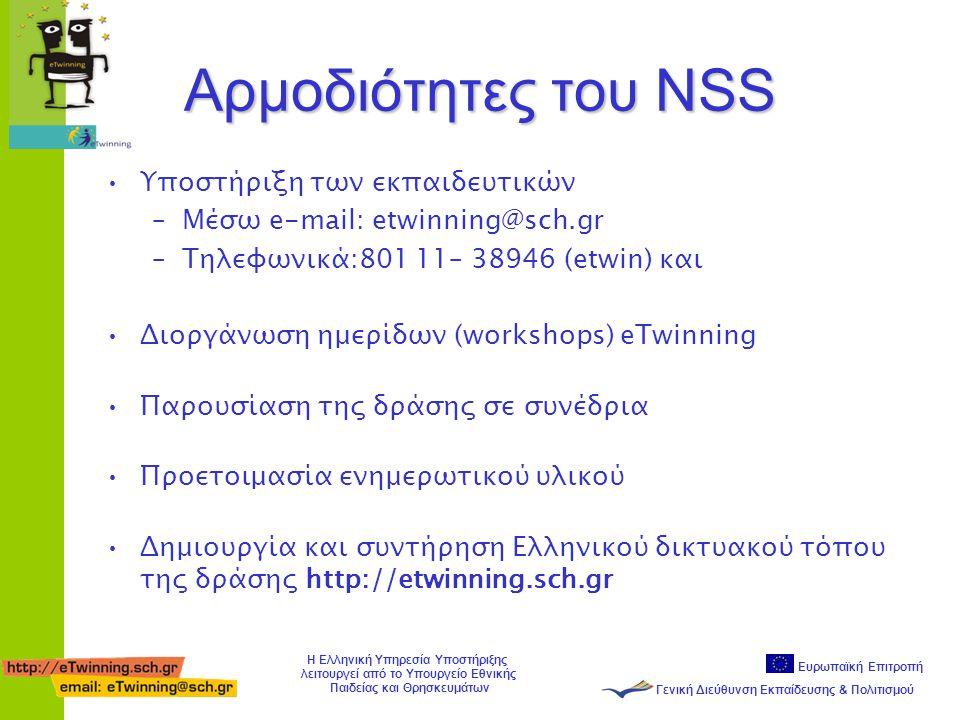 Ευρωπαϊκή Επιτροπή Γενική Διεύθυνση Εκπαίδευσης & Πολιτισμού Η Ελληνική Υπηρεσία Υποστήριξης λειτουργεί από το Υπουργείο Εθνικής Παιδείας και Θρησκευμάτων Αρμοδιότητες του NSS •Υποστήριξη των εκπαιδευτικών –Mέσω e-mail: etwinning@sch.gr –Τηλεφωνικά:801 11– 38946 (etwin) και •Διοργάνωση ημερίδων (workshops) eTwinning •Παρουσίαση της δράσης σε συνέδρια •Προετοιμασία ενημερωτικού υλικού •Δημιουργία και συντήρηση Ελληνικού δικτυακού τόπου της δράσης http://etwinning.sch.gr