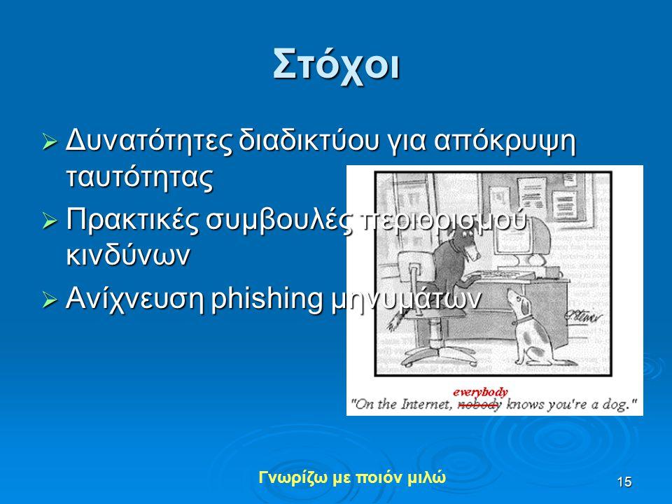 Γνωρίζω με ποιόν μιλώ 15 Στόχοι  Δυνατότητες διαδικτύου για απόκρυψη ταυτότητας  Πρακτικές συμβουλές περιορισμού κινδύνων  Ανίχνευση phishing μηνυμ