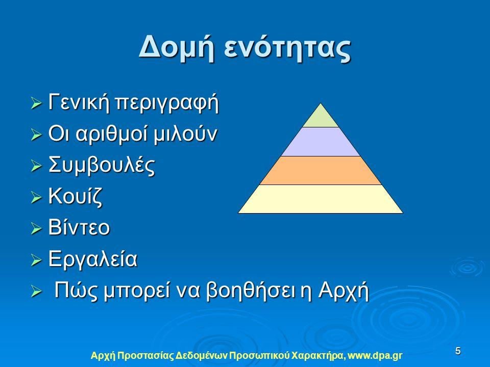 Αρχή Προστασίας Δεδομένων Προσωπικού Xαρακτήρα, www.dpa.gr 5 Δομή ενότητας  Γενική περιγραφή  Οι αριθμοί μιλούν  Συμβουλές  Κουίζ  Βίντεο  Εργαλ