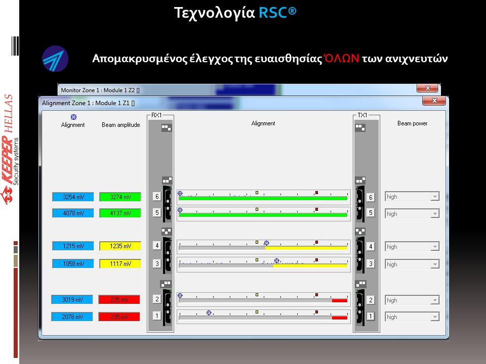 Απομακρυσμένος έλεγχος της ευαισθησίας ΌΛΩΝ των ανιχνευτών • Recording of system maintenance for history file • Recording of Installers S/N Τεχνολογία RSC®