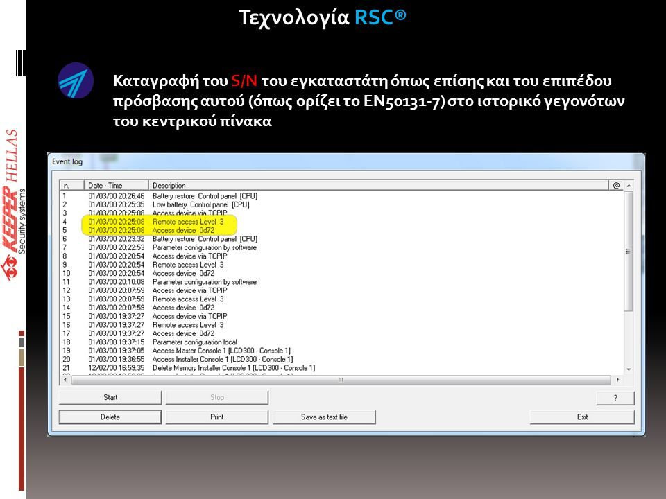 Καταγραφή του S/N του εγκαταστάτη όπως επίσης και του επιπέδου πρόσβασης αυτού (όπως ορίζει το ΕΝ50131-7) στο ιστορικό γεγονότων του κεντρικού πίνακα Τεχνολογία RSC®