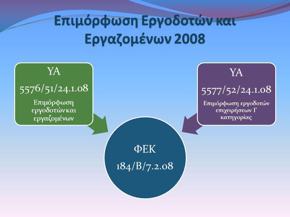 Επιμόρφωση Εργοδοτών και Εργαζομένων 2008 ΦΕΚ 184/Β/7.2.08 ΥΑ 5576/51/24.1.08 Επιμόρφωση εργοδοτών και εργαζομένων ΥΑ 5577/52/24.1.08 Επιμόρφωση εργοδ