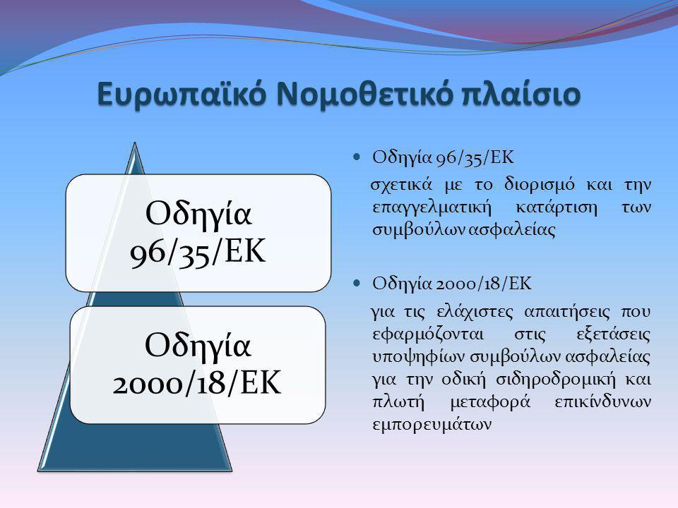 ΕυρωπαϊκόΝομοθετικό πλαίσιο Ευρωπαϊκό Νομοθετικό πλαίσιο Οδηγία 96/35/ΕΚ Οδηγία 2000/18/ΕΚ  Οδηγία 96/35/ΕΚ σχετικά με το διορισμό και την επαγγελματ
