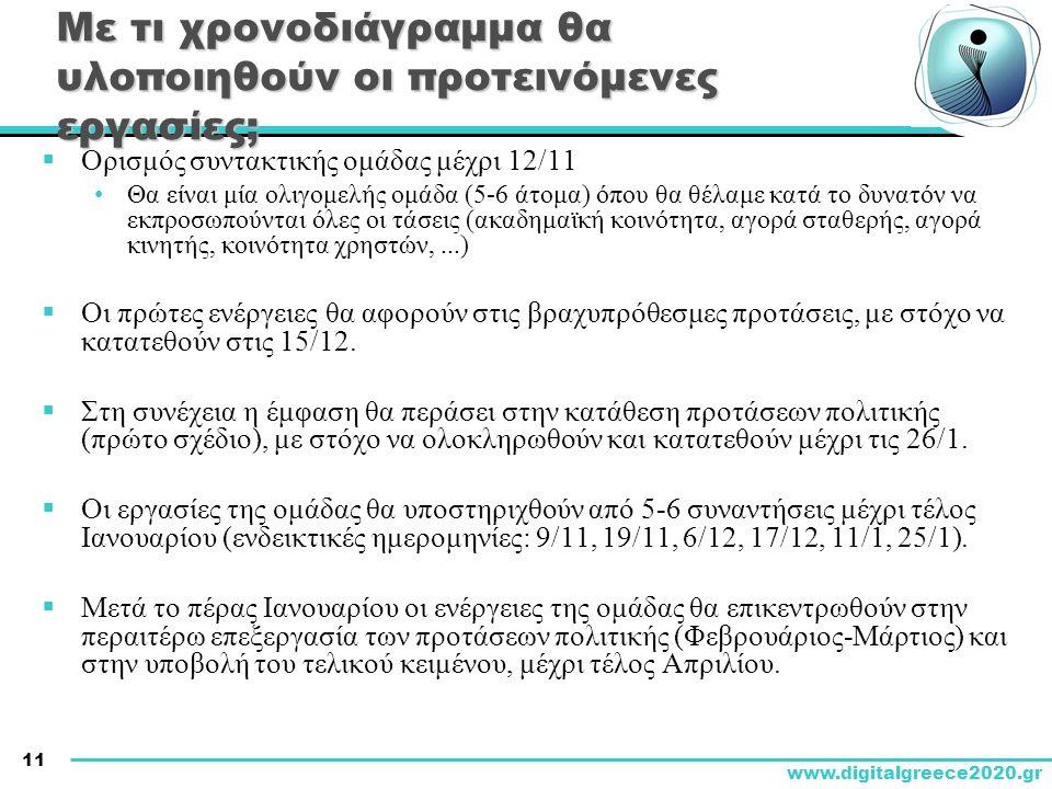 11 www.digitalgreece2020.gr Με τι χρονοδιάγραμμα θα υλοποιηθούν οι προτεινόμενες εργασίες;  Ορισμός συντακτικής ομάδας μέχρι 12/11 •Θα είναι μία ολιγομελής ομάδα (5-6 άτομα) όπου θα θέλαμε κατά το δυνατόν να εκπροσωπούνται όλες οι τάσεις (ακαδημαϊκή κοινότητα, αγορά σταθερής, αγορά κινητής, κοινότητα χρηστών,...)  Οι πρώτες ενέργειες θα αφορούν στις βραχυπρόθεσμες προτάσεις, με στόχο να κατατεθούν στις 15/12.