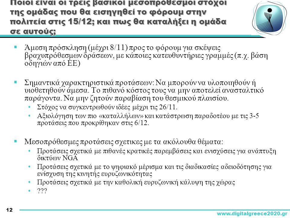 12 www.digitalgreece2020.gr Ποιοί είναι οι τρεις βασικοί μεσοπρόθεσμοι στόχοι της ομάδας που θα εισηγηθεί το φόρουμ στην πολιτεία στις 15/12; και πως θα καταλήξει η ομάδα σε αυτούς;  Άμεση πρόσκληση (μέχρι 8/11) προς το φόρουμ για σκέψεις βραχυπρόθεσμων δράσεων, με κάποιες κατευθυντήριες γραμμές (π.χ.