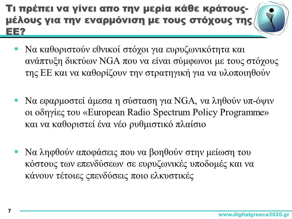7 www.digitalgreece2020.gr Τι πρέπει να γίνει απο την μερία κάθε κράτους- μέλους για την εναρμόνιση με τους στόχους της ΕΕ.