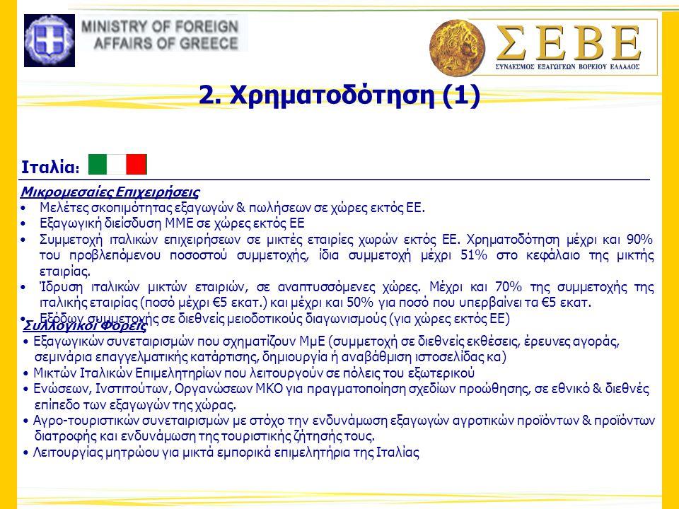 2. Χρηματοδότηση (1) Μικρομεσαίες Επιχειρήσεις •Μελέτες σκοπιμότητας εξαγωγών & πωλήσεων σε χώρες εκτός ΕΕ. •Εξαγωγική διείσδυση ΜΜΕ σε χώρες εκτός ΕΕ