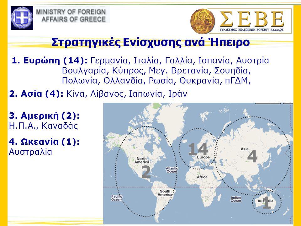 Στρατηγικές Ενίσχυσης ανά Ήπειρο 1. Ευρώπη (14): Γερμανία, Ιταλία, Γαλλία, Ισπανία, Αυστρία Βουλγαρία, Κύπρος, Μεγ. Βρετανία, Σουηδία, Πολωνία, Ολλανδ