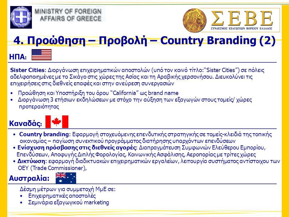 """4. Προώθηση – Προβολή – Country Branding (2) ΗΠΑ : Sister Cities: Διοργάνωση επιχειρηματικών αποστολών (υπό τον κοινό τίτλο:""""Sister Cities"""") σε πόλεις"""