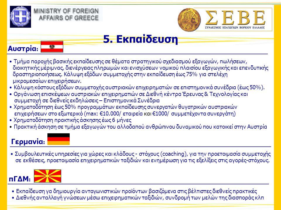 5. Εκπαίδευση Γερμανία : • Συμβουλευτικές υπηρεσίες για χώρες και κλάδους - στόχους (coaching), για την προετοιμασία συμμετοχής σε εκθέσεις, προετοιμα