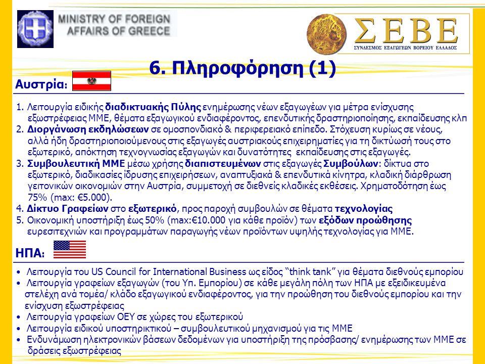 6. Πληροφόρηση (1) 1. Λειτουργία ειδικής διαδικτυακής Πύλης ενημέρωσης νέων εξαγωγέων για μέτρα ενίσχυσης εξωστρέφειας ΜΜΕ, θέματα εξαγωγικού ενδιαφέρ