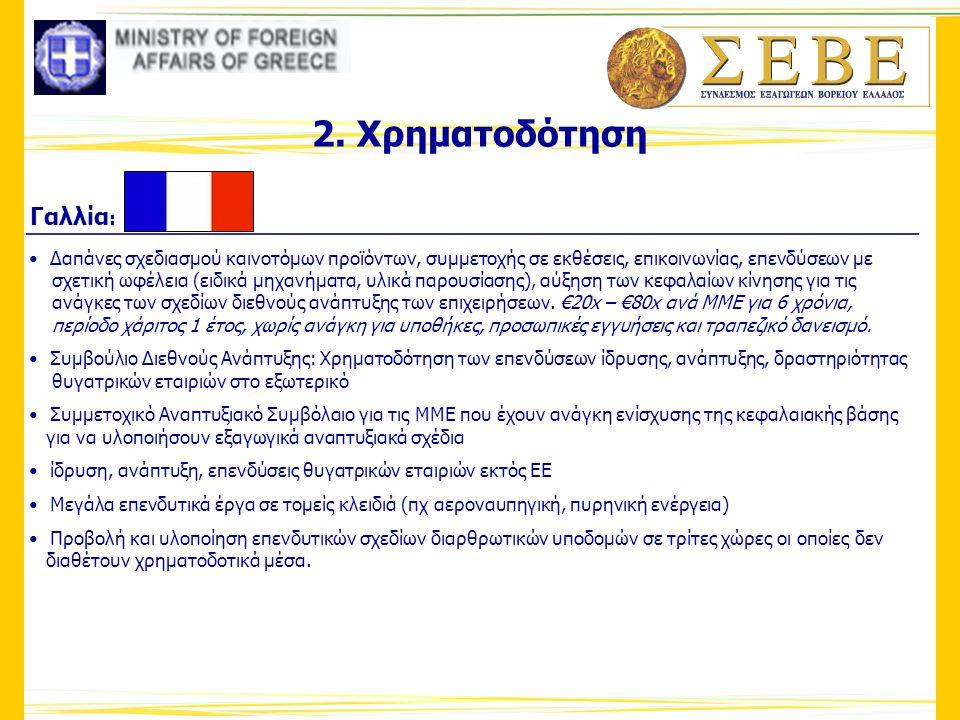2. Χρηματοδότηση Γαλλία : • Δαπάνες σχεδιασμού καινοτόμων προϊόντων, συμμετοχής σε εκθέσεις, επικοινωνίας, επενδύσεων με σχετική ωφέλεια (ειδικά μηχαν