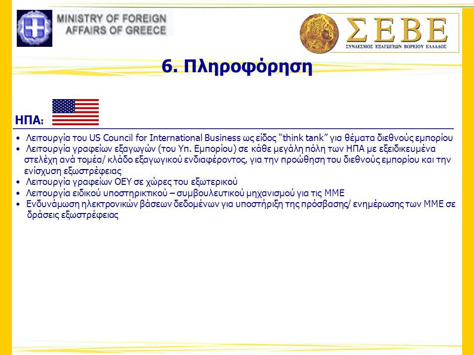 """6. Πληροφόρηση • Λειτουργία του US Council for International Business ως είδος """"think tank"""" για θέματα διεθνούς εμπορίου • Λειτουργία γραφείων εξαγωγώ"""