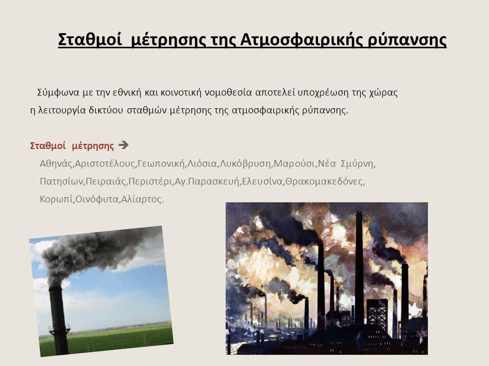 Σταθμοί μέτρησης της Ατμοσφαιρικής ρύπανσης Σύμφωνα με την εθνική και κοινοτική νομοθεσία αποτελεί υποχρέωση της χώρας η λειτουργία δικτύου σταθμών μέ