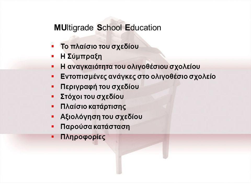  To πλαίσιο του σχεδίου  Η Σύμπραξη  Η αναγκαιότητα του ολιγοθέσιου σχολείου  Εντοπισμένες ανάγκες στο ολιγοθέσιο σχολείο  Περιγραφή του σχεδίου  Στόχοι του σχεδίου  Πλαίσιο κατάρτισης  Αξιολόγηση του σχεδίου  Παρούσα κατάσταση  Πληροφορίες MUltigrade School Education
