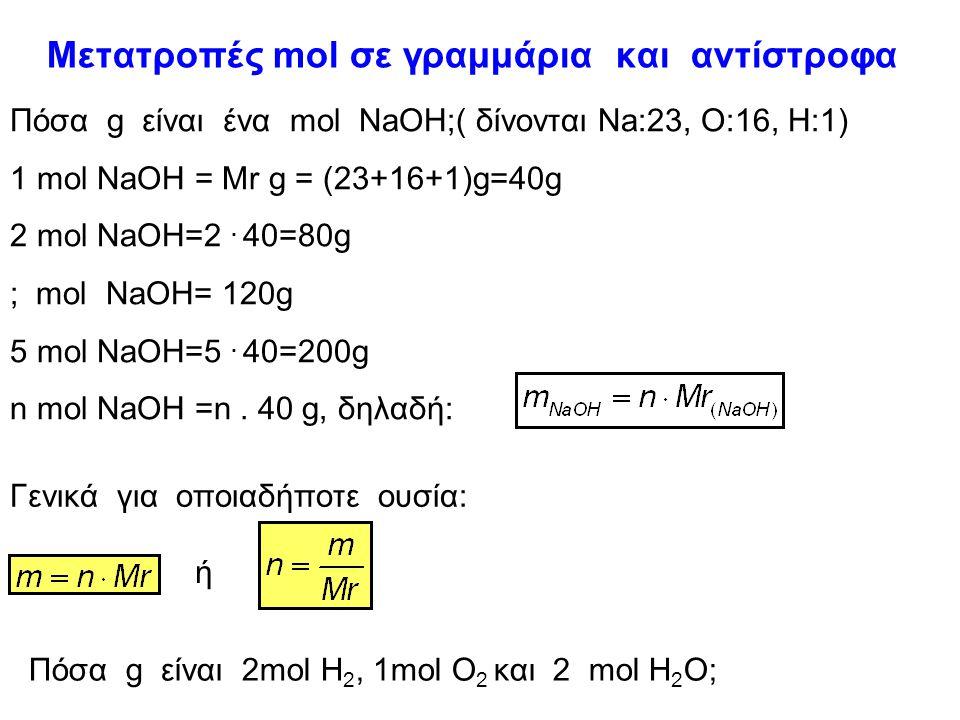 mol και αριθμός Αvogadro 12g C ( Ar C=12) περιέχουν Ν Α άτομα C και αποτελούν 1mol ατόμων C. 16g Ο ( Ar Ο=16) περιέχουν Ν Α άτομα O και αποτελούν 1mol