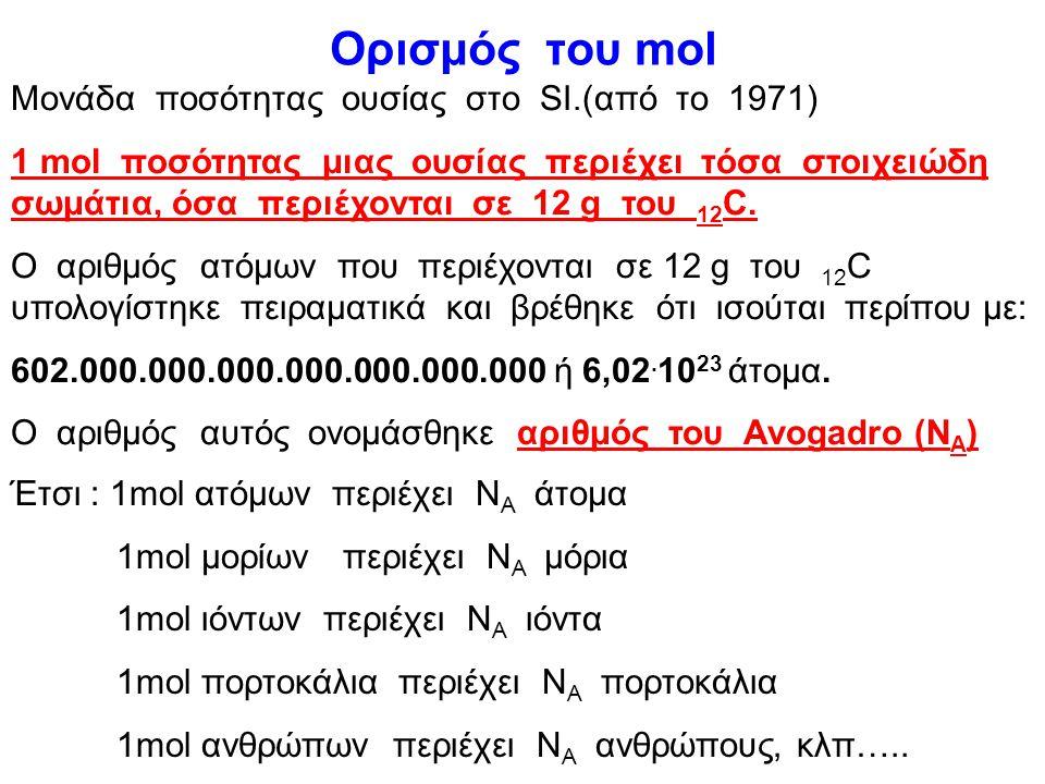 Μοριακό βάρος(ΜΒ) ή σχετική μοριακή μάζα (Μr) Μr= m μορίου 1/12 m ατόμου 12 C Παράδειγμα: εύρεση Μr του H 2 SO 4. (Δίνονται Η:1, S:32, O:16) Εφαρμογή