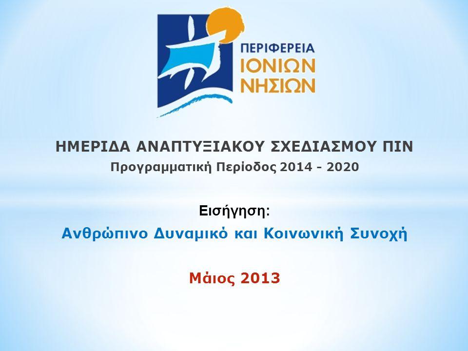 ΗΜΕΡΙΔΑ ΑΝΑΠΤΥΞΙΑΚΟΥ ΣΧΕΔΙΑΣΜΟΥ ΠΙΝ Προγραμματική Περίοδος 2014 - 2020 Εισήγηση: Ανθρώπινο Δυναμικό και Κοινωνική Συνοχή Μάιος 2013
