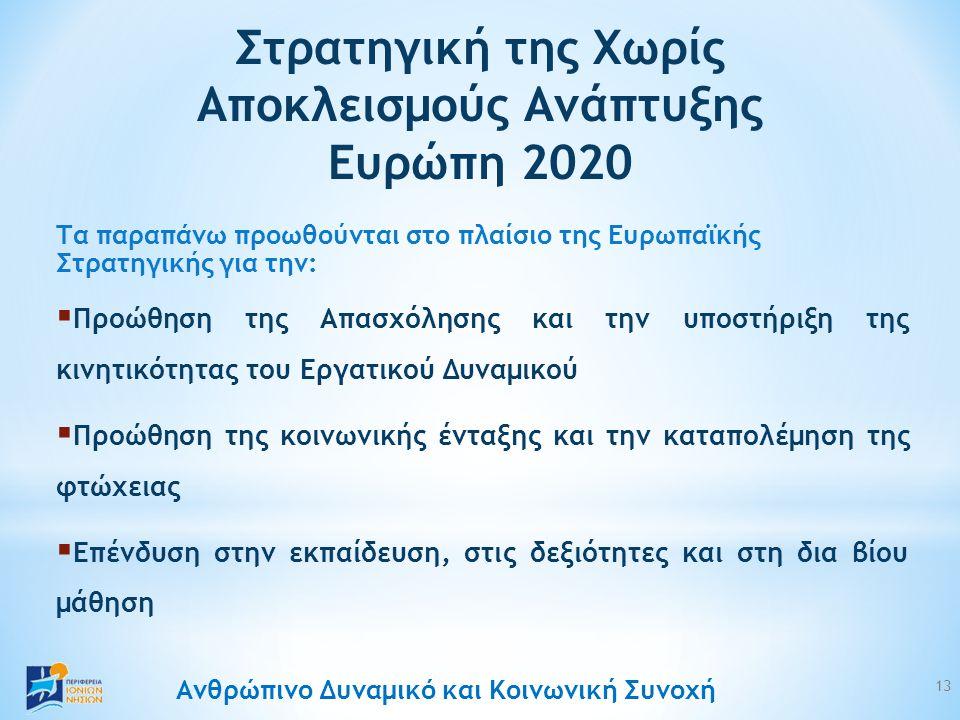Ανθρώπινο Δυναμικό και Κοινωνική Συνοχή Τα παραπάνω προωθούνται στο πλαίσιο της Ευρωπαϊκής Στρατηγικής για την:  Προώθηση της Απασχόλησης και την υποστήριξη της κινητικότητας του Εργατικού Δυναμικού  Προώθηση της κοινωνικής ένταξης και την καταπολέμηση της φτώχειας  Επένδυση στην εκπαίδευση, στις δεξιότητες και στη δια βίου μάθηση Στρατηγική της Χωρίς Αποκλεισμούς Ανάπτυξης Ευρώπη 2020 13