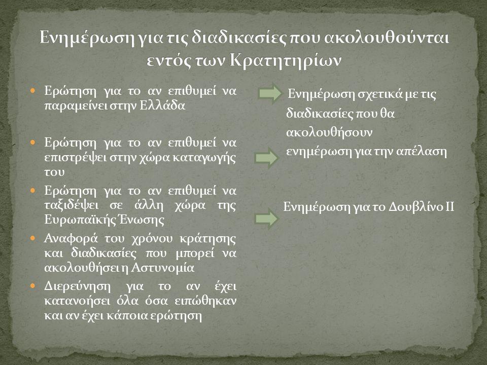  Ερώτηση για το αν επιθυμεί να παραμείνει στην Ελλάδα  Ερώτηση για το αν επιθυμεί να επιστρέψει στην χώρα καταγωγής του  Ερώτηση για το αν επιθυμεί να ταξιδέψει σε άλλη χώρα της Ευρωπαϊκής Ένωσης  Αναφορά του χρόνου κράτησης και διαδικασίες που μπορεί να ακολουθήσει η Αστυνομία  Διερεύνηση για το αν έχει κατανοήσει όλα όσα ειπώθηκαν και αν έχει κάποια ερώτηση Ενημέρωση σχετικά με τις διαδικασίες που θα ακολουθήσουν ενημέρωση για την απέλαση Ενημέρωση για το Δουβλίνο ΙΙ