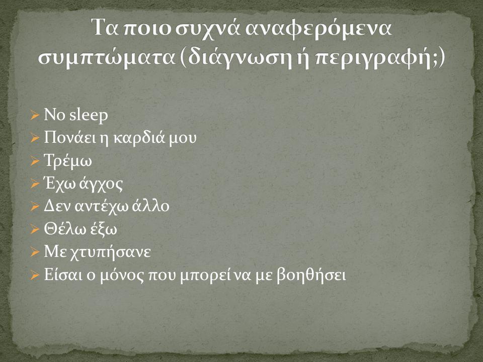  No sleep  Πονάει η καρδιά μου  Τρέμω  Έχω άγχος  Δεν αντέχω άλλο  Θέλω έξω  Με χτυπήσανε  Είσαι ο μόνος που μπορεί να με βοηθήσει