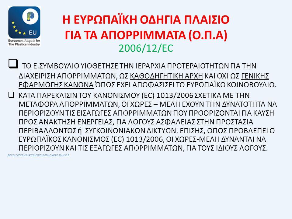 Η ΕΥΡΩΠΑΪΚΗ ΟΔΗΓΙΑ ΠΛΑΙΣΙΟ ΓΙΑ ΤΑ ΑΠΟΡΡΙΜΜΑΤΑ (Ο.Π.Α) 2006/12/ΕC  ΤΟ Ε.ΣΥΜΒΟΥΛΙΟ ΥΙΟΘΕΤΗΣΕ ΤΗΝ ΙΕΡΑΡΧΙΑ ΠΡΟΤΕΡΑΙΟΤΗΤΩΝ ΓΙΑ ΤΗΝ ΔΙΑΧΕΙΡΙΣΗ ΑΠΟΡΡΙΜΜΑΤΩΝ, ΩΣ ΚΑΘΟΔΗΓΗΤΙΚΗ ΑΡΧΗ ΚΑΙ ΟΧΙ ΩΣ ΓΕΝΙΚΗΣ ΕΦΑΡΜΟΓΗΣ ΚΑΝΟΝΑ ΌΠΩΣ ΕΧΕΙ ΑΠΟΦΑΣΙΣΕΙ ΤΟ ΕΥΡΩΠΑΪΚΟ ΚΟΙΝΟΒΟΥΛΙΟ.
