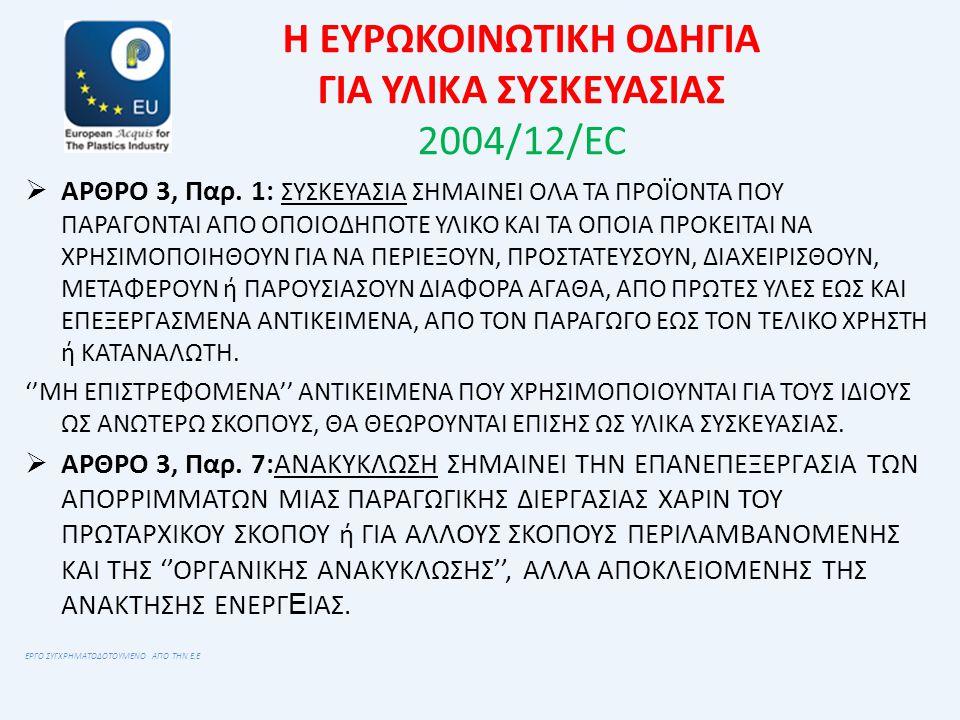 Η ΕΥΡΩΚΟΙΝΩΤΙΚΗ ΟΔΗΓΙΑ ΓΙΑ ΥΛΙΚΑ ΣΥΣΚΕΥΑΣΙΑΣ 2004/12/EC  ΑΡΘΡΟ 3, Παρ. 1: ΣΥΣΚΕΥΑΣΙΑ ΣΗΜΑΙΝΕΙ ΟΛΑ ΤΑ ΠΡΟΪΟΝΤΑ ΠΟΥ ΠΑΡΑΓΟΝΤΑΙ ΑΠΟ ΟΠΟΙΟΔΗΠΟΤΕ ΥΛΙΚΟ ΚΑ