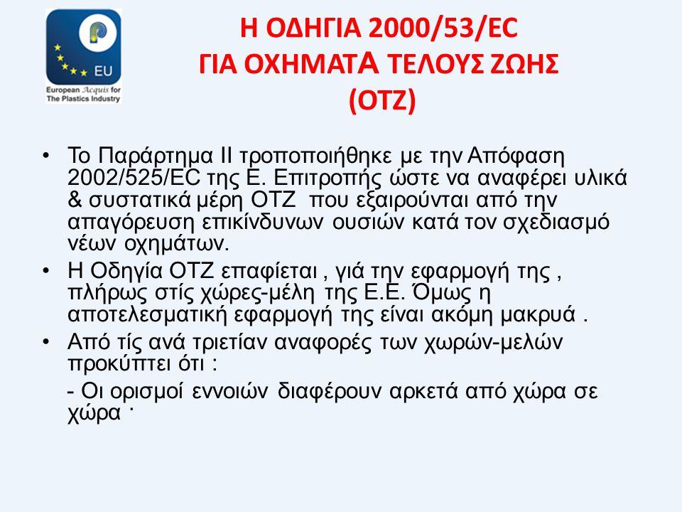 Η ΟΔΗΓΙΑ 2000/53/EC ΓΙΑ ΟΧΗΜΑΤ Α ΤΕΛΟΥΣ ΖΩΗΣ (ΟΤΖ) •Το Παράρτημα ΙΙ τροποποιήθηκε με την Απόφαση 2002/525/EC της Ε. Επιτροπής ώστε να αναφέρει υλικά &