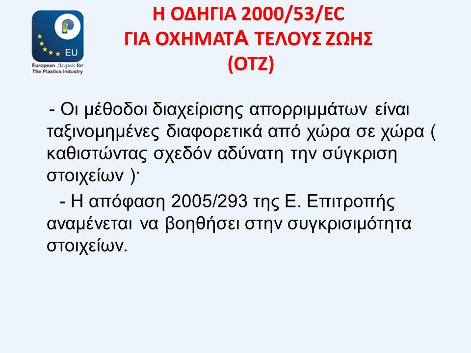 Η ΟΔΗΓΙΑ 2000/53/EC ΓΙΑ ΟΧΗΜΑΤ Α ΤΕΛΟΥΣ ΖΩΗΣ (ΟΤΖ) - Οι μέθοδοι διαχείρισης απορριμμάτων είναι ταξινομημένες διαφορετικά από χώρα σε χώρα ( καθιστώντας σχεδόν αδύνατη την σύγκριση στοιχείων )· - Η απόφαση 2005/293 της Ε.