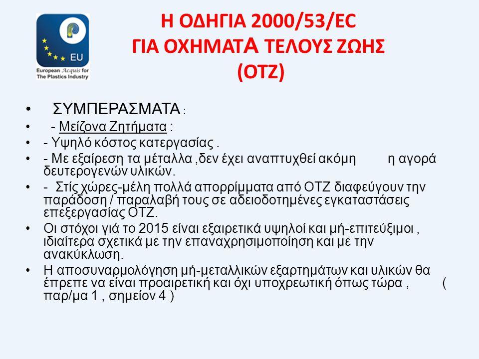 Η ΟΔΗΓΙΑ 2000/53/EC ΓΙΑ ΟΧΗΜΑΤ Α ΤΕΛΟΥΣ ΖΩΗΣ (ΟΤΖ) • ΣΥΜΠΕΡΑΣΜΑΤΑ : • - Μείζονα Ζητήματα : •- Υψηλό κόστος κατεργασίας. •- Με εξαίρεση τα μέταλλα,δεν