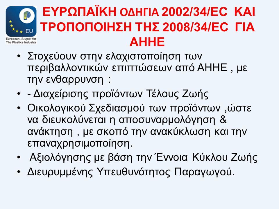 ΕΥΡΩΠΑΪΚΗ ΟΔΗΓΙΑ 2002/34/EC ΚΑΙ ΤΡΟΠΟΠΟΙΗΣΗ ΤΗΣ 2008/34/EC ΓΙΑ ΑΗΗΕ •Στοχεύουν στην ελαχιστοποίηση των περιβαλλοντικών επιπτώσεων από ΑΗΗΕ, με την ενθαρρυνση : •- Διαχείρισης προϊόντων Τέλους Ζωής •Οικολογικού Σχεδιασμού των προϊόντων,ώστε να διευκολύνεται η αποσυναρμολόγηση & ανάκτηση, με σκοπό την ανακύκλωση και την επαναχρησιμοποίηση.