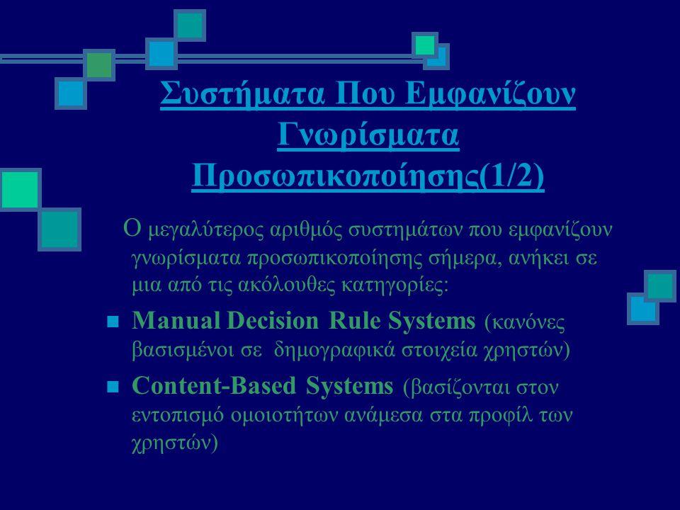 Συστήματα Που Εμφανίζουν Γνωρίσματα Προσωπικοποίησης(1/2) Ο μεγαλύτερος αριθμός συστημάτων που εμφανίζουν γνωρίσματα προσωπικοποίησης σήμερα, ανήκει σε μια από τις ακόλουθες κατηγορίες:  Manual Decision Rule Systems (κανόνες βασισμένοι σε δημογραφικά στοιχεία χρηστών)  Content-Based Systems (βασίζονται στον εντοπισμό ομοιοτήτων ανάμεσα στα προφίλ των χρηστών)