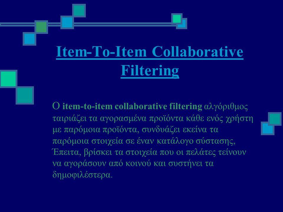 Item-To-Item Collaborative Filtering Ο item-to-item collaborative filtering αλγόριθμος ταιριάζει τα αγορασμένα προϊόντα κάθε ενός χρήστη με παρόμοια προϊόντα, συνδυάζει εκείνα τα παρόμοια στοιχεία σε έναν κατάλογο σύστασης, Έπειτα, βρίσκει τα στοιχεία που οι πελάτες τείνουν να αγοράσουν από κοινού και συστήνει τα δημοφιλέστερα.