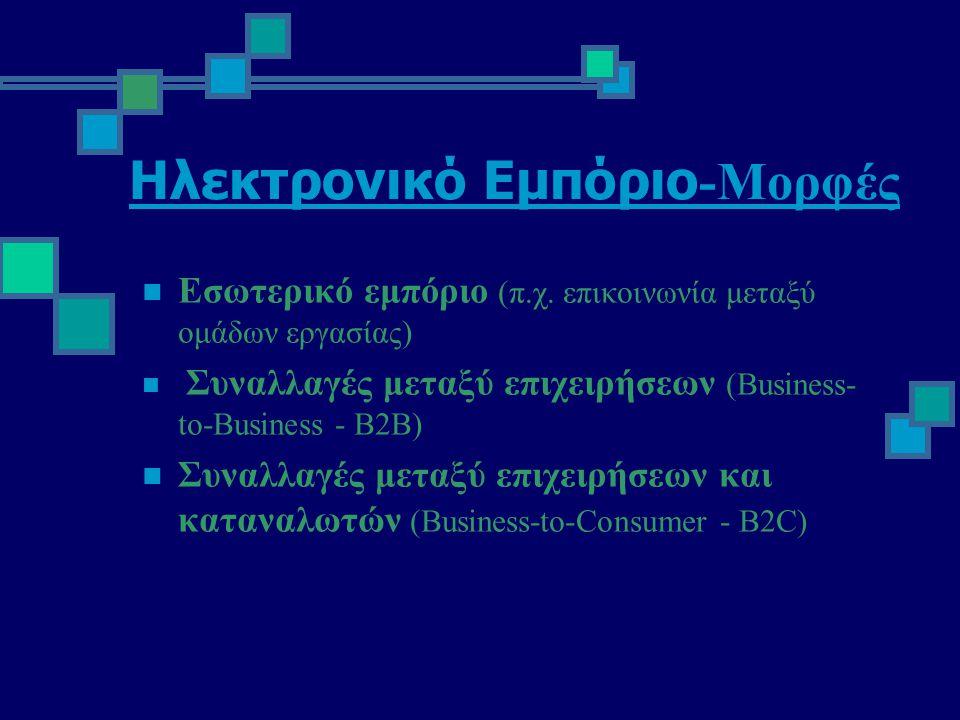 Πλεονεκτήματα Ηλεκτρονικών Αγορών  Συμβάλουν στην διαφάνεια της αγοράς  Απλοποίηση διεθνούς επιχειρηματικότητας  Μείωση του κόστους του marketing  Εξάλειψη χρονικών και γεωγραφικών περιορισμών  Εξοικονόμηση χρόνου και χρήματος
