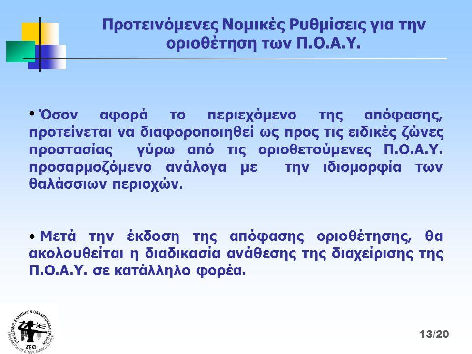 Προτεινόμενες Νομικές Ρυθμίσεις για την οριοθέτηση των Π.Ο.Α.Υ.