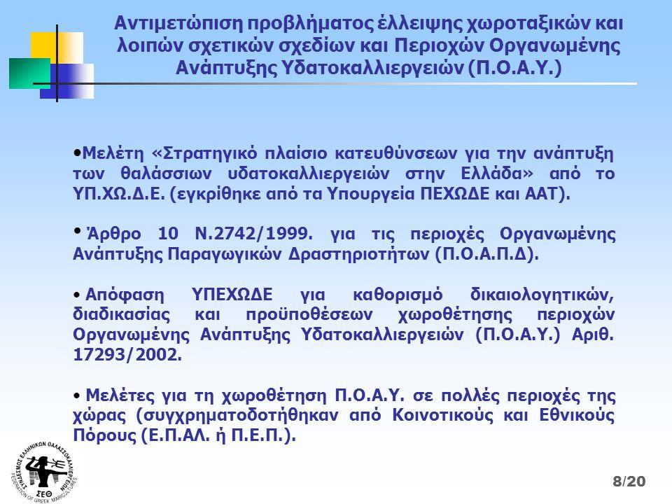 Αντιμετώπιση προβλήματος έλλειψης χωροταξικών και λοιπών σχετικών σχεδίων και Περιοχών Οργανωμένης Ανάπτυξης Υδατοκαλλιεργειών (Π.Ο.Α.Υ.) • Μελέτη «Στρατηγικό πλαίσιο κατευθύνσεων για την ανάπτυξη των θαλάσσιων υδατοκαλλιεργειών στην Ελλάδα» από το ΥΠ.ΧΩ.Δ.Ε.