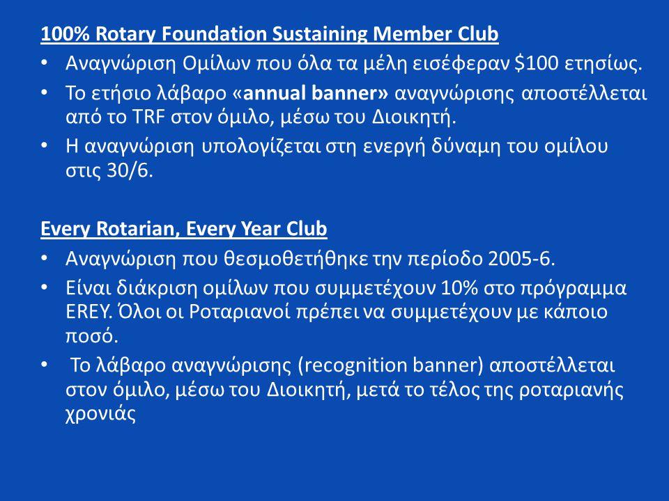 100% Rotary Foundation Sustaining Member Club • Αναγνώριση Ομίλων που όλα τα μέλη εισέφεραν $100 ετησίως.