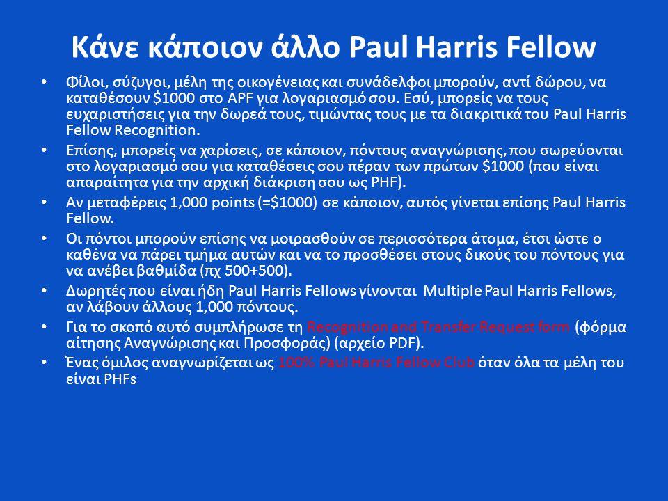 Κάνε κάποιον άλλο Paul Harris Fellow • Φίλοι, σύζυγοι, μέλη της οικογένειας και συνάδελφοι μπορούν, αντί δώρου, να καταθέσουν $1000 στο APF για λογαριασμό σου.