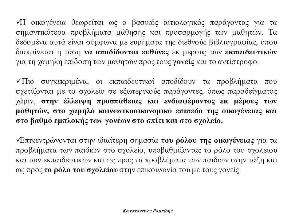 Κωνσταντίνος Ραμπίδης  Η οικογένεια θεωρείται ως ο βασικός αιτιολογικός παράγοντας για τα σημαντικότερα προβλήματα μάθησης και προσαρμογής των μαθητώ