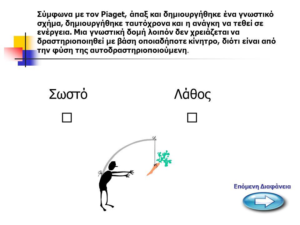  Σύμφωνα με τον Piaget, άπαξ και δημιουργήθηκε ένα γνωστικό σχήμα, δημιουργήθηκε ταυτόχρονα και η ανάγκη να τεθεί σε ενέργεια. Μια γνωστική δομή λοιπ