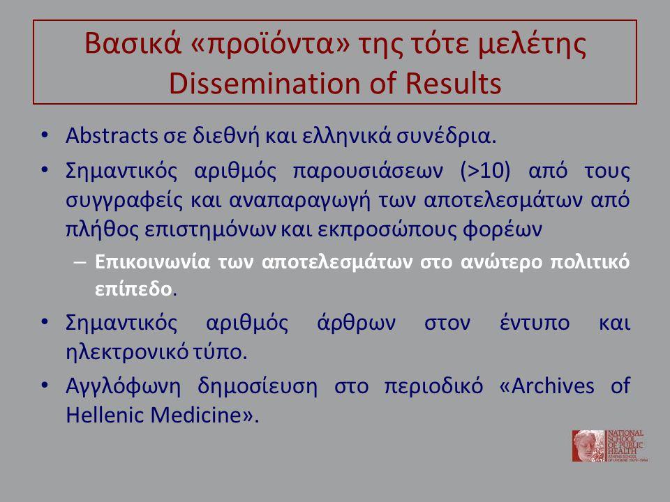 Βασικά «προϊόντα» της τότε μελέτης Dissemination of Results • Abstracts σε διεθνή και ελληνικά συνέδρια.
