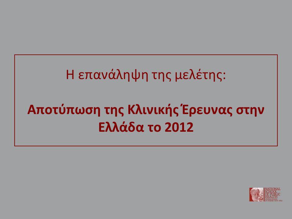 Η επανάληψη της μελέτης: Αποτύπωση της Κλινικής Έρευνας στην Ελλάδα το 2012