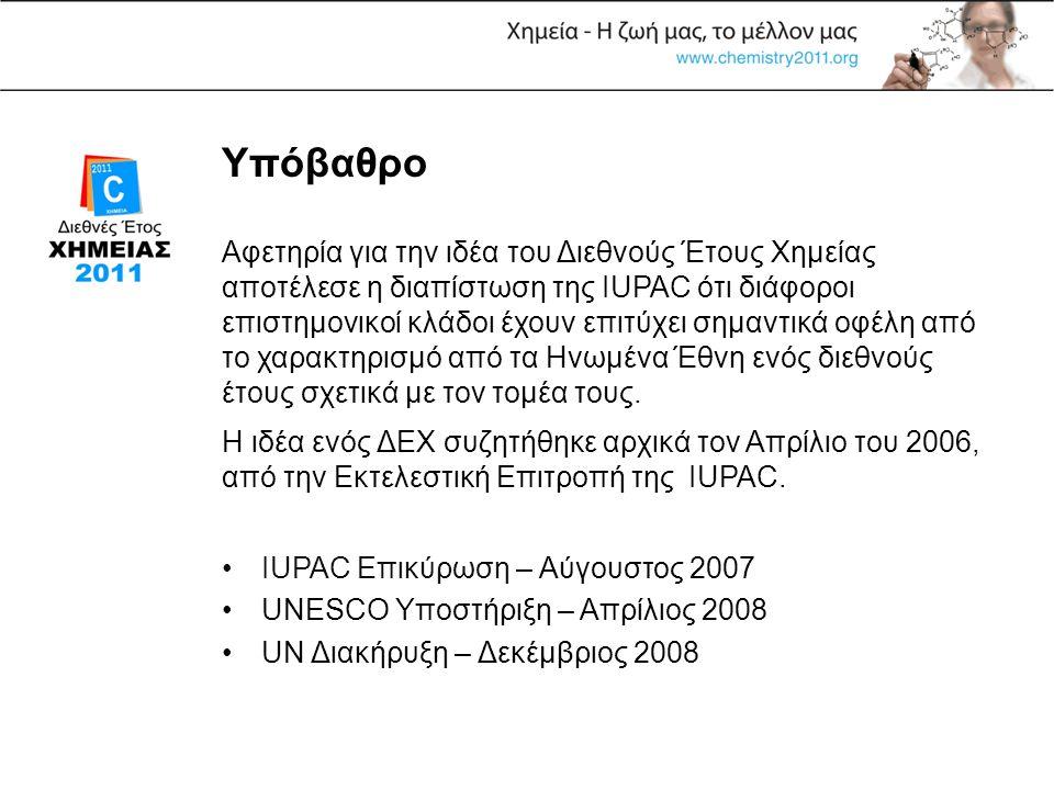 Υπόβαθρο •IUPAC Επικύρωση – Αύγουστος 2007 •UNESCO Υποστήριξη – Απρίλιος 2008 •UN Διακήρυξη – Δεκέμβριος 2008 Αφετηρία για την ιδέα του Διεθνούς Έτους